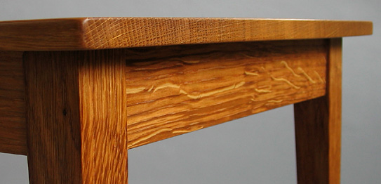 Detail of side table in oak
